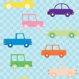 Ζωηρόχρωμο άνευ ραφής σχέδιο αυτοκινήτων Στοκ Εικόνες
