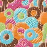Άνευ ραφής σχέδιο με τα ζωηρόχρωμα νόστιμα στιλπνά donuts Στοκ Εικόνες