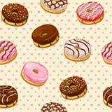 Άνευ ραφής σχέδιο με τα ζωηρόχρωμα νόστιμα donuts Στοκ φωτογραφία με δικαίωμα ελεύθερης χρήσης