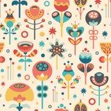 Άνευ ραφής σχέδιο με τα ζωηρόχρωμα λουλούδια και τα φύλλα Χριστουγέννων Στοκ εικόνα με δικαίωμα ελεύθερης χρήσης