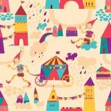 Άνευ ραφής σχέδιο με τα ζωηρόχρωμα σπίτια για το υπόβαθρο των παιδιών. Στοκ Φωτογραφίες