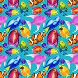 Άνευ ραφής σχέδιο με τα ζωηρόχρωμα ψάρια watercolor Hand-drawn wat Στοκ Φωτογραφίες