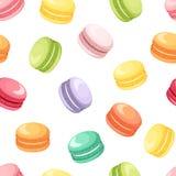 Άνευ ραφής σχέδιο με τα ζωηρόχρωμα macaroon μπισκότα στο λευκό επίσης corel σύρετε το διάνυσμα απεικόνισης ελεύθερη απεικόνιση δικαιώματος