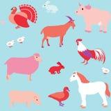 Άνευ ραφής σχέδιο με τα ζώα αγροκτημάτων Στοκ φωτογραφία με δικαίωμα ελεύθερης χρήσης