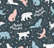 Άνευ ραφής σχέδιο με τα ζώα αστεριών Διανυσματικό υπόβαθρο hipster με τον ουρανό αστεριών ελεύθερη απεικόνιση δικαιώματος