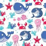 Άνευ ραφής σχέδιο με τα ζώα θάλασσας Στοκ Φωτογραφίες