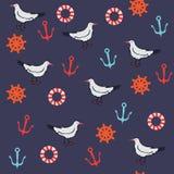 Άνευ ραφής σχέδιο με τα θαλάσσια αντικείμενα Στοκ Εικόνα