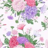 Άνευ ραφής σχέδιο με τα θερινά λουλούδια Στοκ Εικόνες