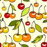 Άνευ ραφής σχέδιο με τα διακοσμητικά γλυκά κεράσια Στοκ Φωτογραφία