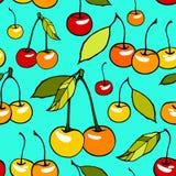 Άνευ ραφής σχέδιο με τα διακοσμητικά γλυκά κεράσια Στοκ εικόνα με δικαίωμα ελεύθερης χρήσης
