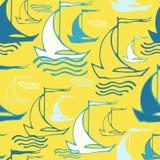 Άνευ ραφής σχέδιο με τα διακοσμητικά σκάφη Στοκ Φωτογραφίες