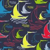 Άνευ ραφής σχέδιο με τα διακοσμητικά σκάφη Στοκ Εικόνα