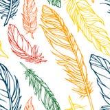Άνευ ραφής σχέδιο με τα διακοσμητικά φτερά Στοκ Φωτογραφίες