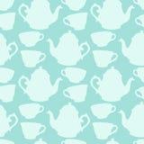Άνευ ραφής σχέδιο με τα διακοσμητικά φλυτζάνια και teapots Στοκ φωτογραφία με δικαίωμα ελεύθερης χρήσης
