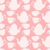 Άνευ ραφής σχέδιο με τα διακοσμητικά φλυτζάνια και teapots Στοκ Φωτογραφία