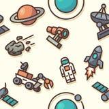 Άνευ ραφής σχέδιο με τα διαστημικά εικονίδια Στοκ Φωτογραφίες