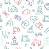 Άνευ ραφής σχέδιο με τα ιατρικά σύμβολα Στοκ Εικόνες