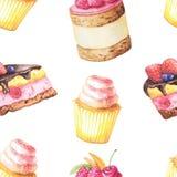 Άνευ ραφής σχέδιο με τα κέικ watercolor διανυσματική απεικόνιση