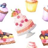 Άνευ ραφής σχέδιο με τα κέικ watercolor ελεύθερη απεικόνιση δικαιώματος