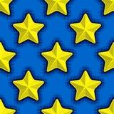 Άνευ ραφής σχέδιο με τα κίτρινα αστέρια στο μπλε υπόβαθρο Στοκ φωτογραφία με δικαίωμα ελεύθερης χρήσης