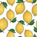 Άνευ ραφής σχέδιο με τα κίτρινα λεμόνια - απεικόνιση Στοκ Φωτογραφία