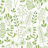Άνευ ραφής σχέδιο με τα κατασκευασμένους φύλλα, τα λουλούδια, τους κλάδους και τα χορτάρια Στοκ εικόνα με δικαίωμα ελεύθερης χρήσης