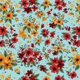Άνευ ραφής σχέδιο με τα κόκκινα και κίτρινα λουλούδια ελεύθερη απεικόνιση δικαιώματος