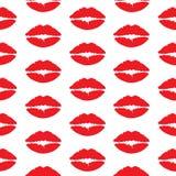 Άνευ ραφής σχέδιο με τα κόκκινα χείλια στο άσπρο υπόβαθρο Στοκ εικόνες με δικαίωμα ελεύθερης χρήσης