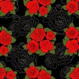 Άνευ ραφής σχέδιο με τα κόκκινα χρωματισμένα και ευθυγραμμισμένα τριαντάφυλλα Στοκ Φωτογραφία
