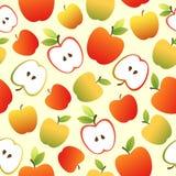 Άνευ ραφής σχέδιο με τα κόκκινες και πράσινες μήλα και τις φέτες μήλων Στοκ Εικόνα