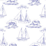 Άνευ ραφής σχέδιο με τα κύματα και τα σκάφη Στοκ εικόνα με δικαίωμα ελεύθερης χρήσης
