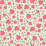 Άνευ ραφής σχέδιο με τα μήλα και τα λουλούδια Στοκ Εικόνα