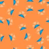Άνευ ραφής σχέδιο με τα μπλε και πορτοκαλιά μόρια Στοκ Εικόνα