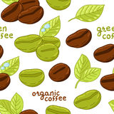 Άνευ ραφής σχέδιο με τα οργανικά φασόλια καφέ απεικόνιση αποθεμάτων