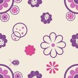 Άνευ ραφής σχέδιο με τα λουλούδια και τα ζωύφια απεικόνιση αποθεμάτων
