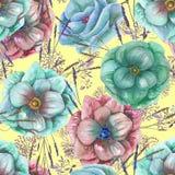 Άνευ ραφής σχέδιο με τα λουλούδια και τη χλόη anemone watercolor Στοκ Εικόνες