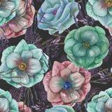 Άνευ ραφής σχέδιο με τα λουλούδια και τη χλόη anemone watercolor Στοκ Φωτογραφία
