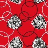 Άνευ ραφής σχέδιο με τα λουλούδια και τους κύκλους Στοκ εικόνες με δικαίωμα ελεύθερης χρήσης