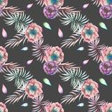 Άνευ ραφής σχέδιο με τα λουλούδια και τους κλάδους anemone watercolor Στοκ Εικόνες