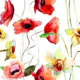 Άνευ ραφής σχέδιο με τα λουλούδια ναρκίσσων και παπαρουνών Στοκ Φωτογραφίες