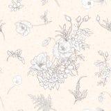 Άνευ ραφής σχέδιο με τα λουλούδια παπαρουνών, daffodils, anemones, βιολέτα Στοκ Εικόνες