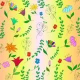 Άνευ ραφής σχέδιο με τα λουλούδια, τα κλαδάκια και τις μπούκλες Στοκ Εικόνα