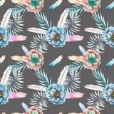 Άνευ ραφής σχέδιο με τα λουλούδια anemone watercolor, τα φτερά και τους μπλε κλάδους Στοκ εικόνα με δικαίωμα ελεύθερης χρήσης