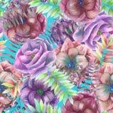 Άνευ ραφής σχέδιο με τα λουλούδια anemone watercolor, φτέρη, φύλλα και κλάδοι Στοκ φωτογραφία με δικαίωμα ελεύθερης χρήσης