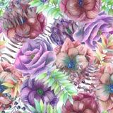 Άνευ ραφής σχέδιο με τα λουλούδια anemone watercolor Στοκ εικόνα με δικαίωμα ελεύθερης χρήσης