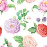 Άνευ ραφής σχέδιο με τα λουλούδια watercolor απεικόνιση αποθεμάτων