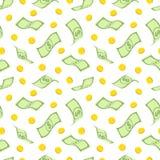Άνευ ραφής σχέδιο με τα δολάρια και τα χρυσά νομίσματα Στοκ φωτογραφίες με δικαίωμα ελεύθερης χρήσης