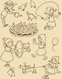 Άνευ ραφής σχέδιο με τα παίζοντας κορίτσια Στοκ φωτογραφία με δικαίωμα ελεύθερης χρήσης