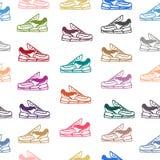 Άνευ ραφής σχέδιο με τα παπούτσια πάνινων παπουτσιών Στοκ Φωτογραφίες
