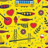 Άνευ ραφής σχέδιο με τα παραδοσιακά πορτογαλικά Στοκ Εικόνα